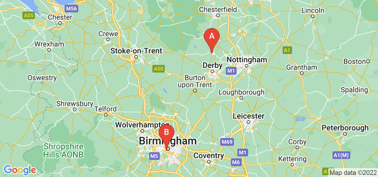 Belper to Birmingham Route Map